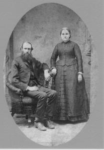 Napoleon Bonaparte McClain with his wife Angeline P. Harrison. They married in 1861 two years before he joined the Union Army. In an armed conflict during the war he lost part of his hand and a finger.