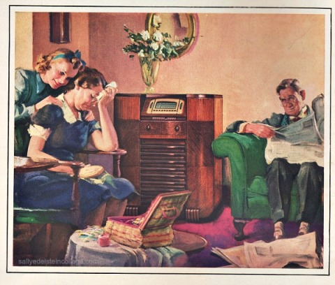 Vintage ad GE Radio illustration family