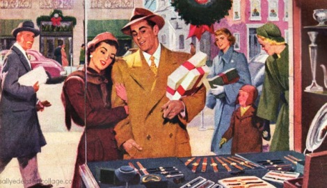 vintage xmas shopping illustration