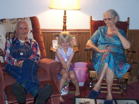 My grandparents, Rob and Malinda (Smith) Beaty with my daughter, Molly.